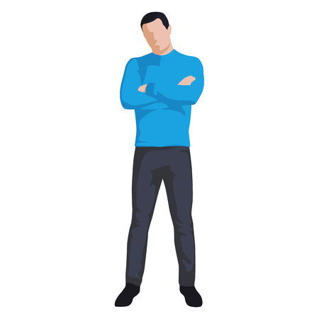 Man standing with folded arms, abstract vector illustration. Flat design