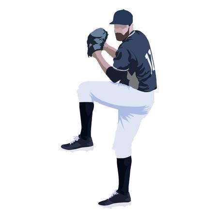 Jogador de beisebol, ilustração vetorial abstrato, vista frontal
