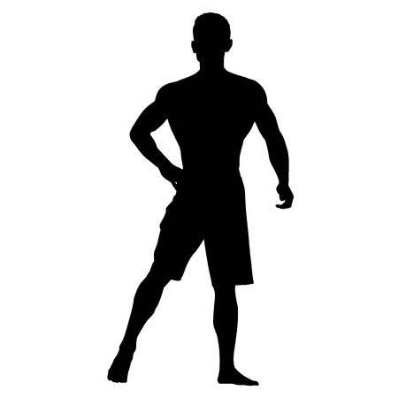 Bodybuilder standing in shorts. Hand on his hip. Illustration