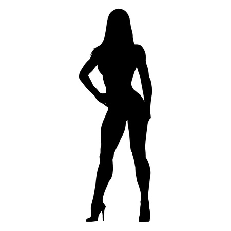 Posing fitness woman. Bodybuilder girl standing on high heels. Vector silhouette