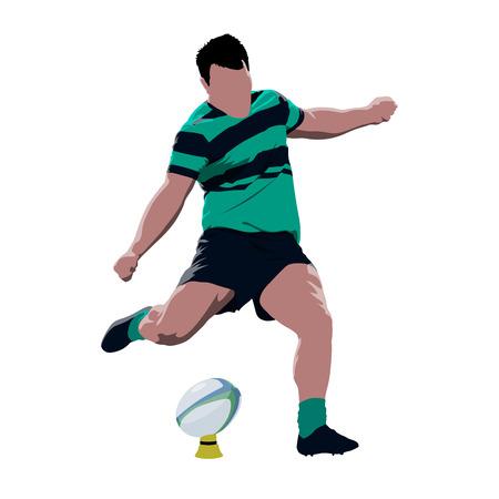 Il giocatore di rugby che dà dei calci alla palla, vettore astratto ha isolato l'illustrazione