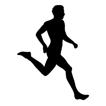 Runner, vector isolated silhouette. Side view