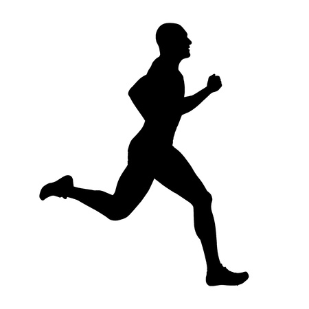 Runner vector silhouette, side view. Sprinting athlete Illustration