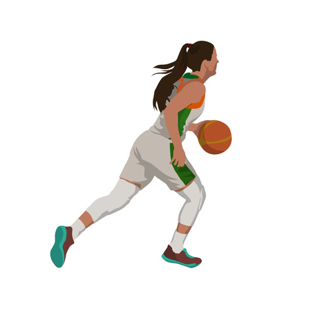 Running woman with ball, basketball player isolated vector illustration