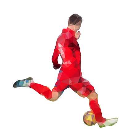 jersey: Soccer player in red jersey is kicking ball, abstract geometric vector silhouette