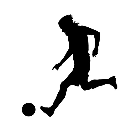 foot ball: Soccer player is running with ball, vector silhouette Illustration