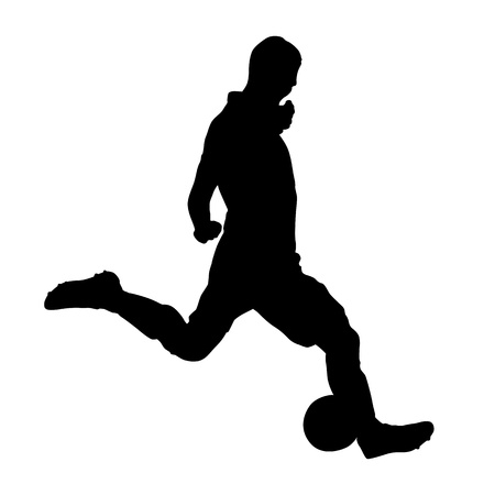 Soccer player is kicking ball, vector silhouette Çizim
