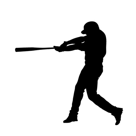 homerun: Baseball player vector isolated silhouette, batter swinging with bat