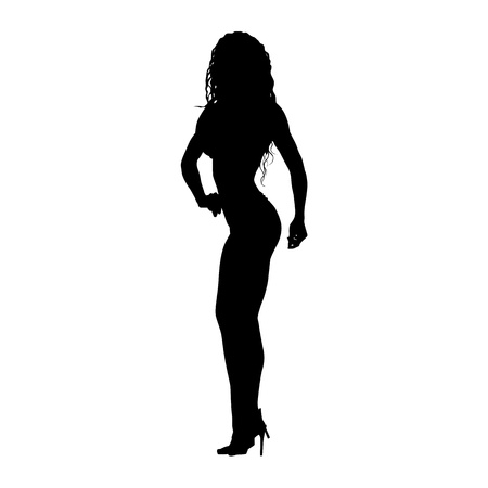 Posing fitness woman. Bodybuilder girl standing on high heels. Vector silhouette