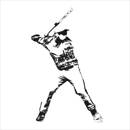 傷が野球選手のベクトル シルエット、バッターに立って、ボールを待っています。