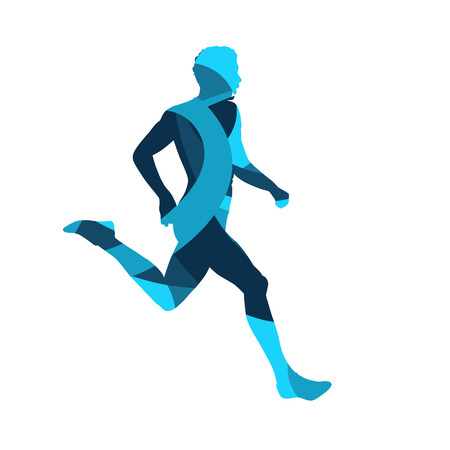 Running man, abstract blue vector silhouette Illustration