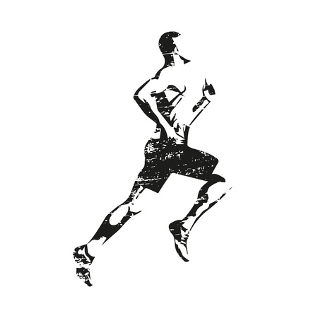 Scratched running man, abstract grungy vector silhouette