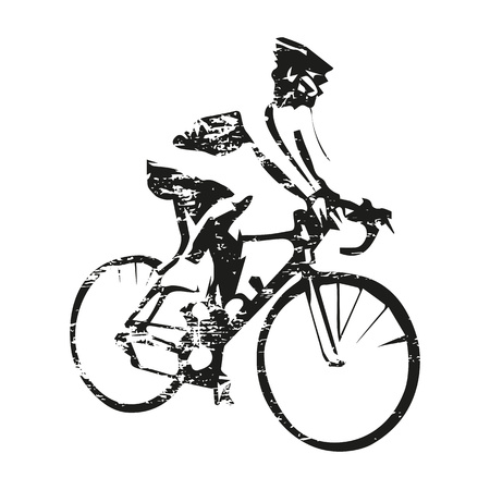 Road cycling, scratched cyclist on bike, abstract grungy vector silhouette