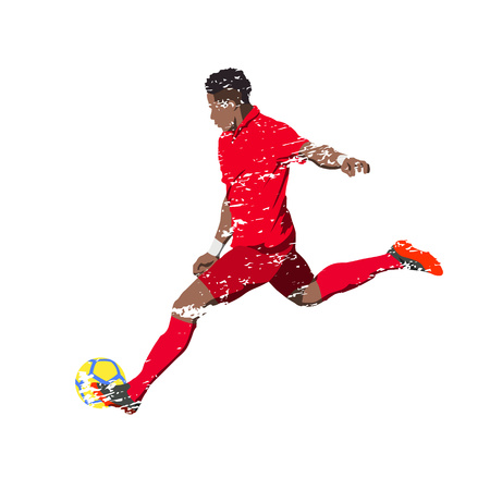 bruised: Soccer player in red jersey, scratched vector illustration of grungy running man kicking ball Illustration