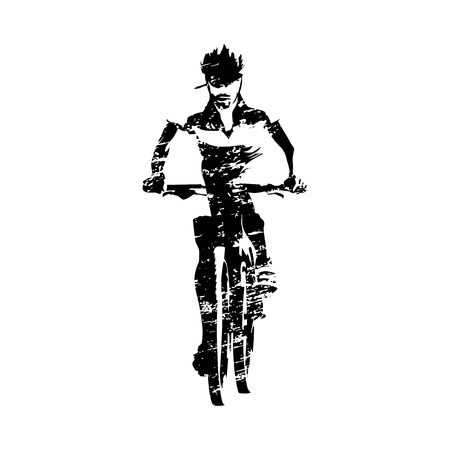 Scratched mountain biker, abstract grungy vector silhouette