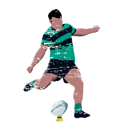 Grunge rugby player in green and black jersey kicking ball, abstract scratched vector illustration