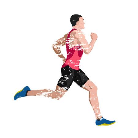 Runner, scratched vector illustration of sprinting man