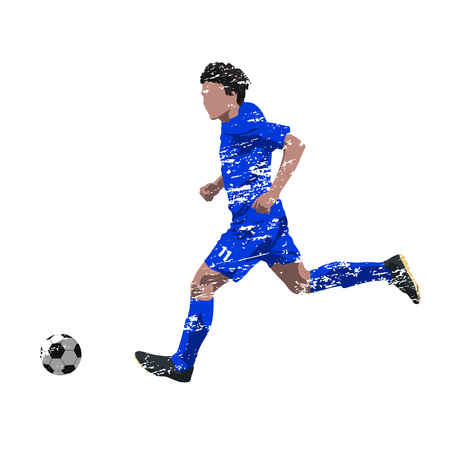 penalty: Running soccer player in blue jersey, grunge effect, abstract vector illustration