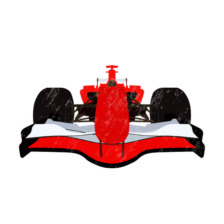 Formula racing car scratched vector illustration. Grunge effect. Front view
