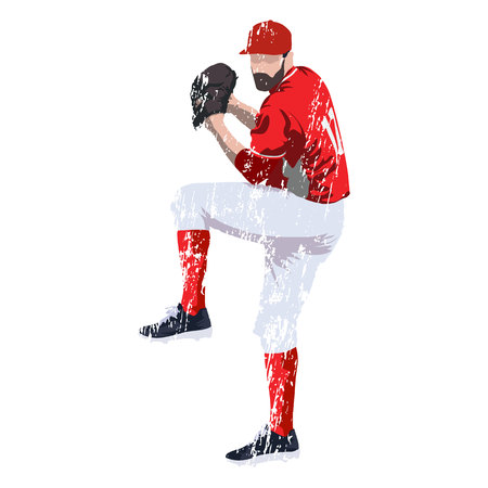 jersey: Baseball player pitcher in red jersey, grungy vector illustration Illustration