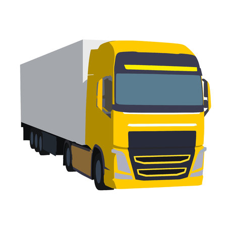 Big yellow truck pulling load, vector illustration. Transportation theme. Isolated road car
