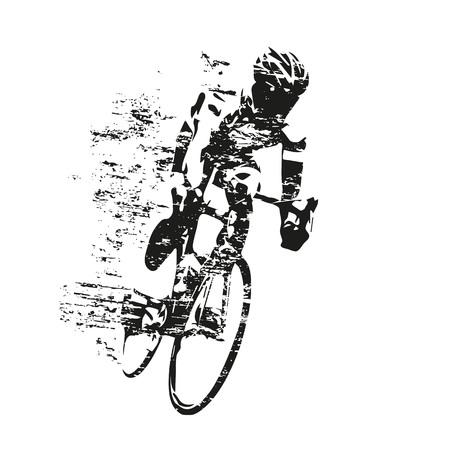 사이클링 테마, 도로 사이클의 긁힌 된 벡터 실루엣