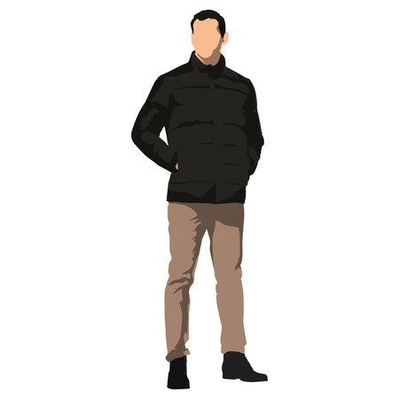 Young handsome man standing in winter clothing. Dark jacket, brown trousers. Hands in pockets. Isolated vector illustration