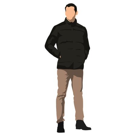 Jeune bel homme debout dans des vêtements d'hiver. Veste noire, pantalon marron. Les mains dans les poches. Illustration vectorielle isolé