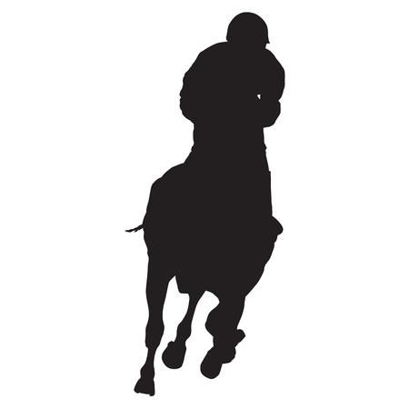 馬のベクトル シルエット騎手出走馬のレース、フロント ビュー  イラスト・ベクター素材