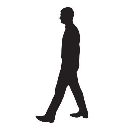 Perfil de hombre caminando, vista lateral, silueta de vector