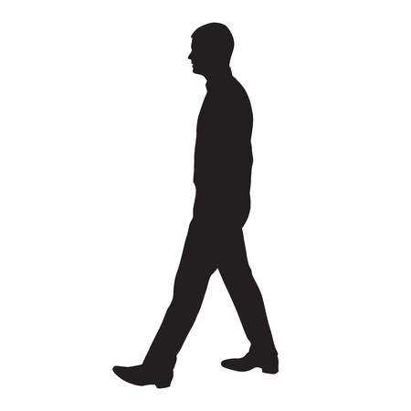 Walking man profile, side view, vector silhouette
