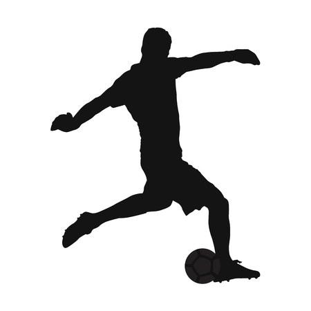 ボール、ベクトル シルエット、サイドビューをオフに蹴るサッカー ゴールキーパー