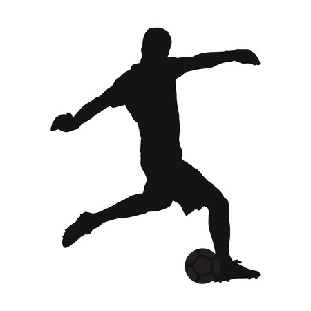 Soccer goalkeeper kicking off the ball, vector silhouette, side view