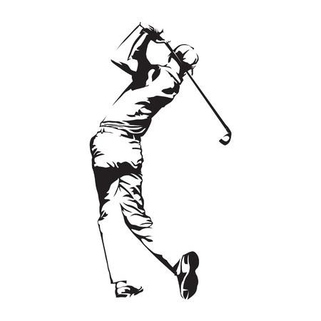 Golfista, streszczenie sylwetka wektor, szkic golfisty