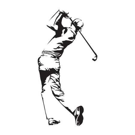 Golfspeler, abstract vectorsilhouet, golfspelersschets