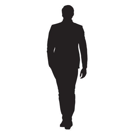 come back: Young business man in suit goes forward, front view, isolated vector silhouette Illustration