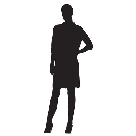 Standing business woman dressed in short dress, vector silhouette 免版税图像 - 79415139