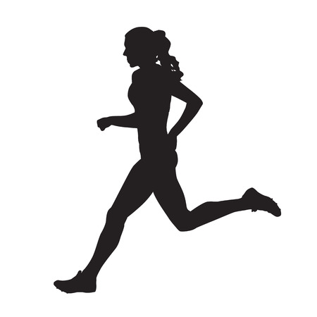 Running woman side view vector silhouette Vector Illustration
