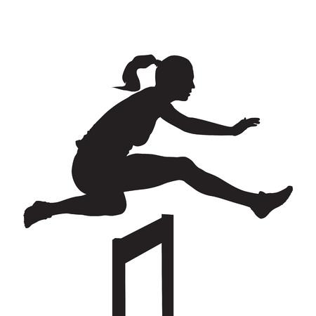 Kobieta skacząca i biegająca przez płotki, wyścig z przeszkodami, sylwetka wektora
