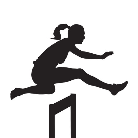 Woman jumping and running over hurdles, hurdle race, vector silhouette Zdjęcie Seryjne - 79575388
