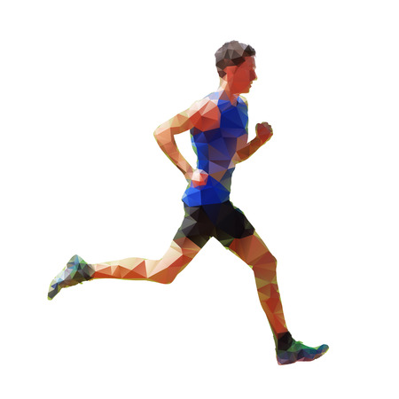Geometric running man, abstract vector silhouette, low poly
