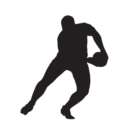 speedster: Rugby player passing ball, vector isolated silhouette