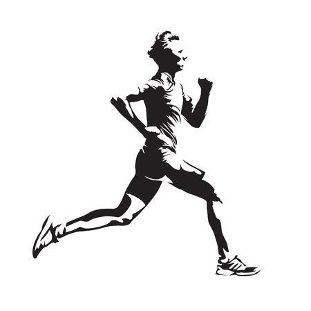 Laufen Mann Vektor Skizze, abstrakte Silhouette, Seitenansicht