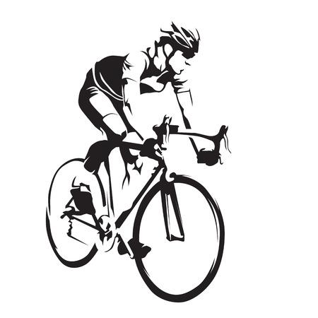 彼のロードバイクの自転車競技選手。抽象的なベクトル シルエットをサイクリング  イラスト・ベクター素材