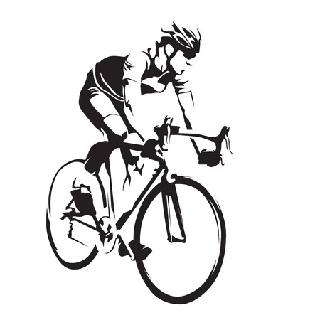 Cyclist on his road bike. Cycling abstract vector silhouette Çizim