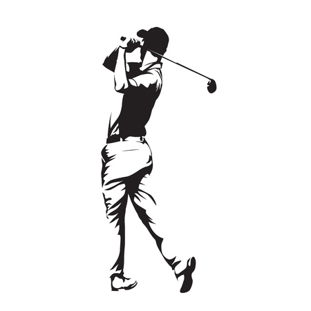 Golf player, abstract vector silhouette Çizim