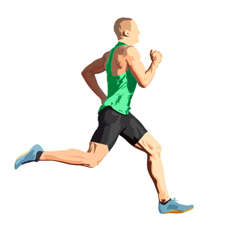 Running man in green shirt, isolated vector illustration, side view