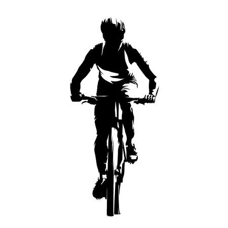 山のバイカー、正面、抽象的なベクトル シルエット。サイクリング