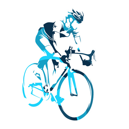 Road cyclist on his bicycle, cycling tour. Abstract blue vector silhouette