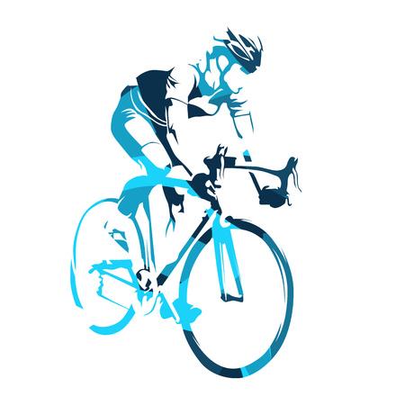 Rowerzysta na rowerze, wycieczka rowerowa. Streszczenie sylwetka wektor niebieski